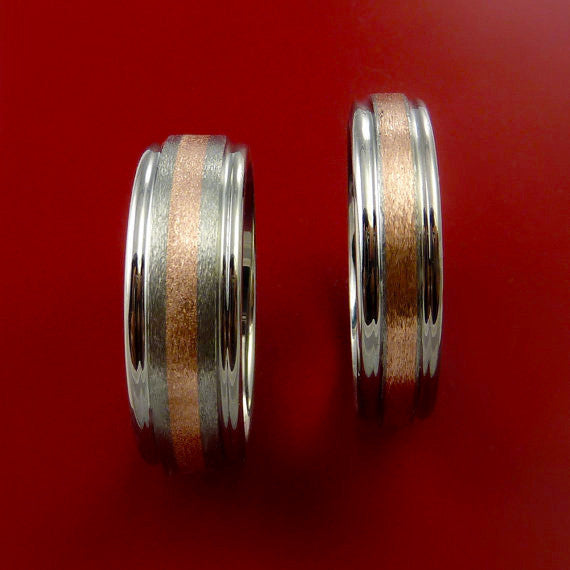 Rose Gold and Titanium Matching Rings Wedding Band Set Sizes 3-22 - Stonebrook Jewelry  - 5