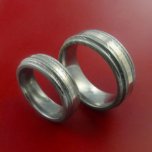 Matching Set 14k White Gold Damascus Steel Rings Wedding Bands