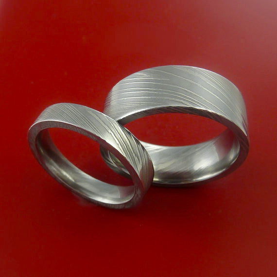 Matching Damascus Steel Ring Set Wedding Bands Genuine Craftsmanship by Stonebrook Jewelry