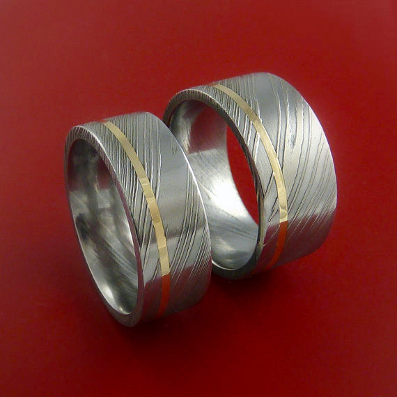 Matching Wide Set 14k Yellow Gold Damascus Steel Rings Wedding Bands