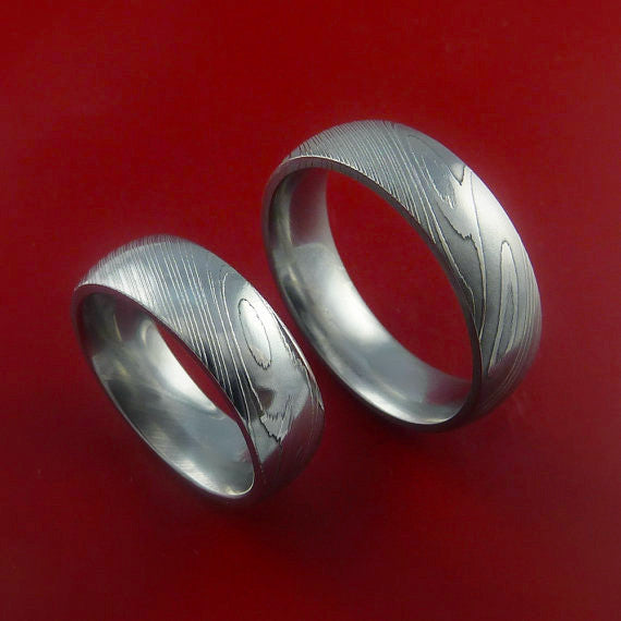 Matching Damascus Steel Ring Set Wedding Bands Genuine Craftsmanship