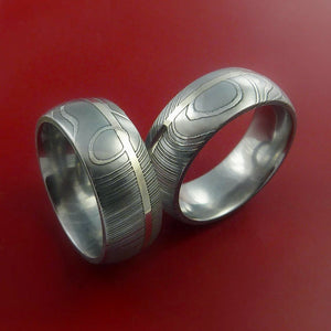 Matching Set 14k White Gold Damascus Steel Ring Wedding Bands