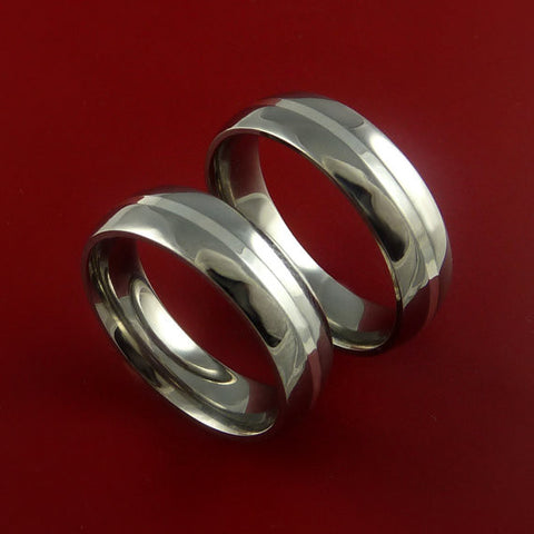 Titanium Matching Rings Classic Style with 14k White Gold Inlay Wedding Band Sizes 3-22