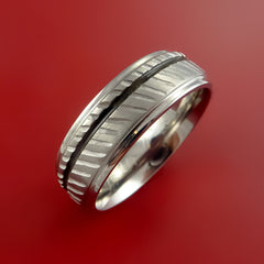 Titanium Rifling Carved Band Custom Ring With Optional Inlay Color Made to Any Sizing - Stonebrook Jewelry  - 2