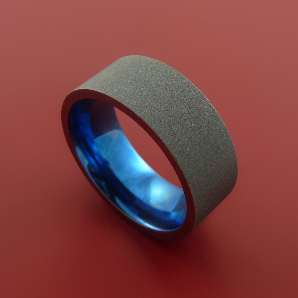 Titanium Wide Band Fine Jewelry Ring Made to Any Size Blue Anodized - Stonebrook Jewelry  - 1