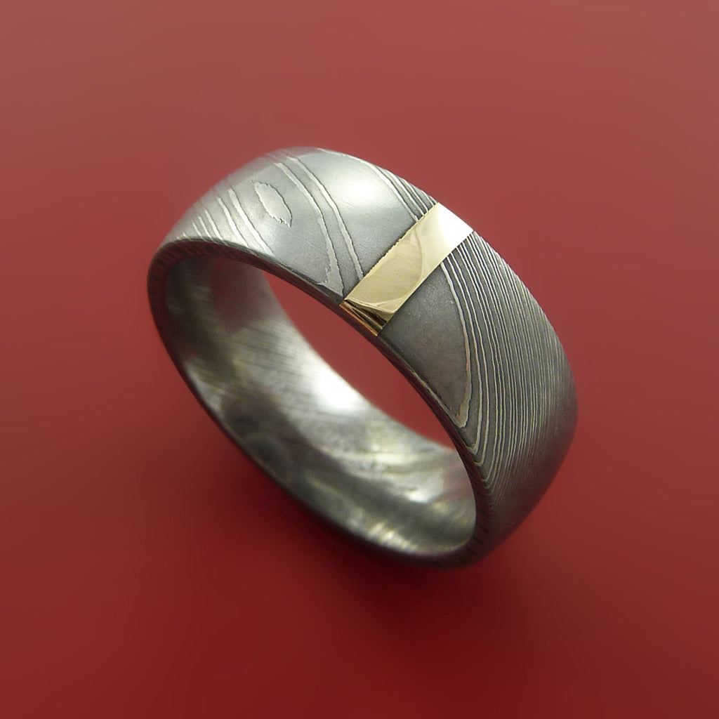 Damascus Steel 14K Yellow Gold Vertical Inlay Ring Wedding Band Custom Made by Stonebrook Jewelry
