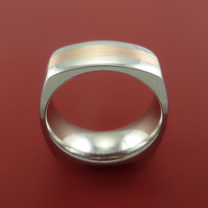 Cobalt Chrome Ring with 14k Rose Gold Inlay Custom Made Band