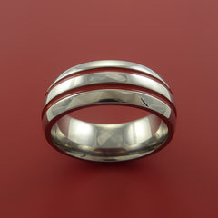 Titanium Band Custom Color Design Ring Any Size 3 to 22 Red, Green, Blue Inlay by Stonebrook Jewelry