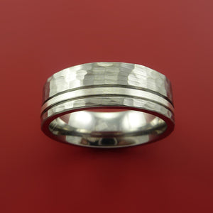 Cobalt Chrome Wide Ring Classic Style with Hammer Finish and Silver Inlay Wedding Band Any Size 3-22