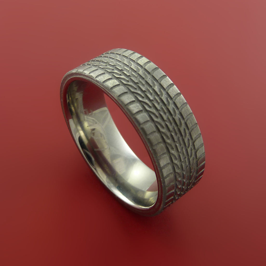 Titanium Carved Tread Design Ring Bold Unique Band Custom Made to Any Sizing 4-22 - Stonebrook Jewelry  - 1