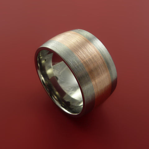 14k Rose Gold Titanium Band Wide Ring and Made to Any Finish and Size from 3-22