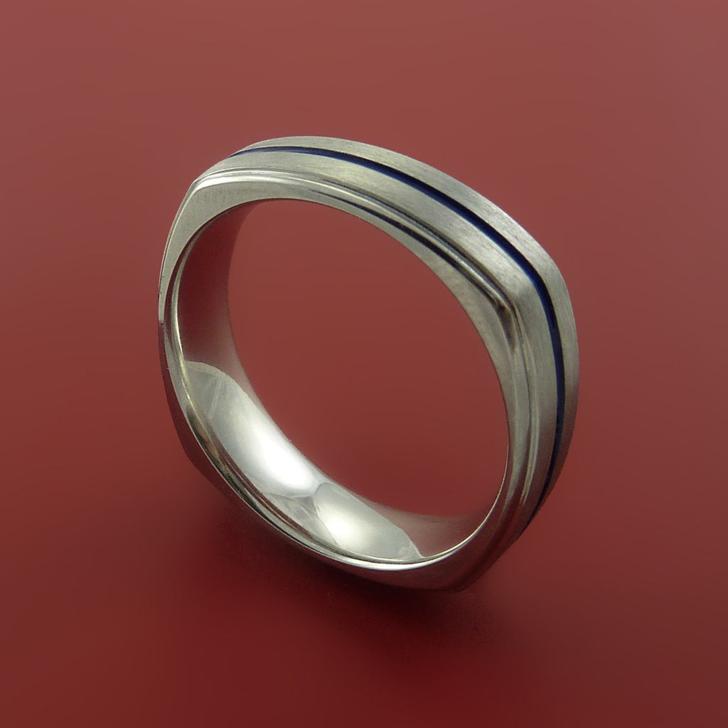 Titanium Square Ring with Custom Color Design Band any Sizing Modern Design by Stonebrook Jewelry
