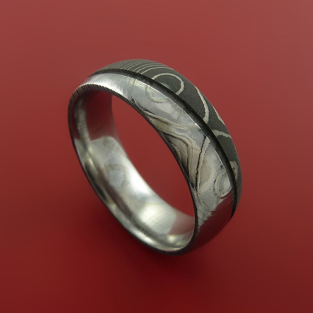 Damascus Steel Ring Wedding Band Two Tone Finish Genuine Craftsmanship - Stonebrook Jewelry  - 1