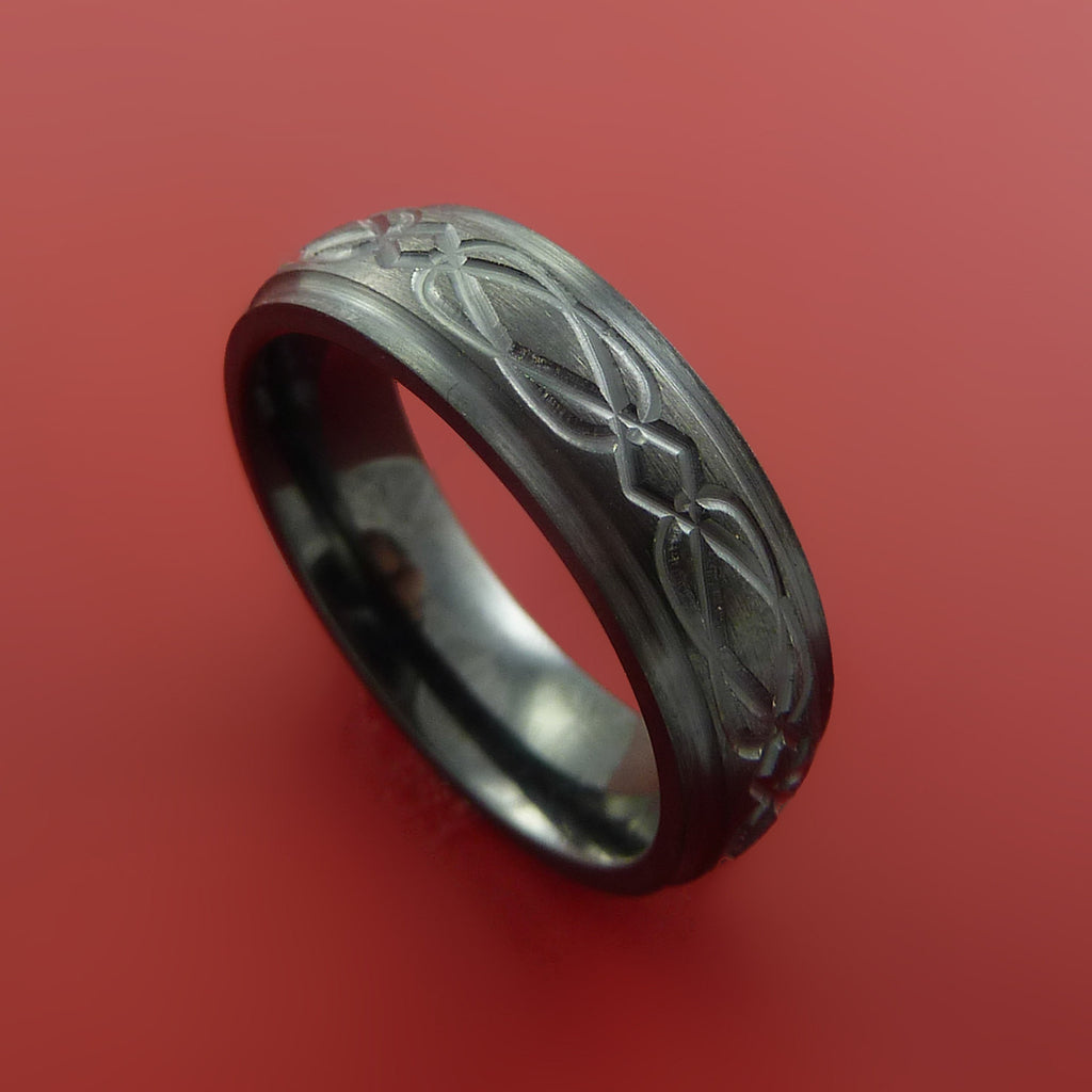 Black Zirconium Ring with Infinity Milled Celtic Design Inlay Custom Made Band