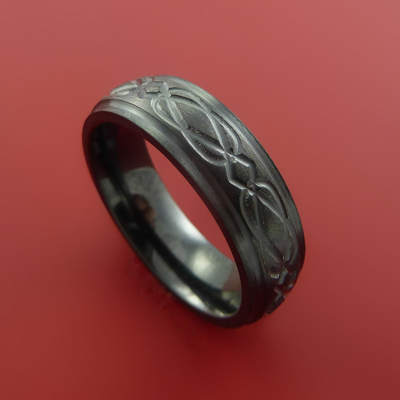 Black Zirconium Celtic Band Infinity Symbolic Wedding Ring Custom Made to Any Size