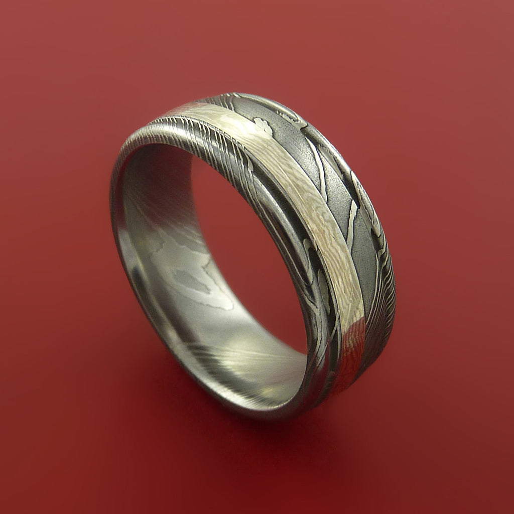Damascus and 14k WHITE GOLD Mokume Gane Ring Custom Made by Stonebrook Jewelry