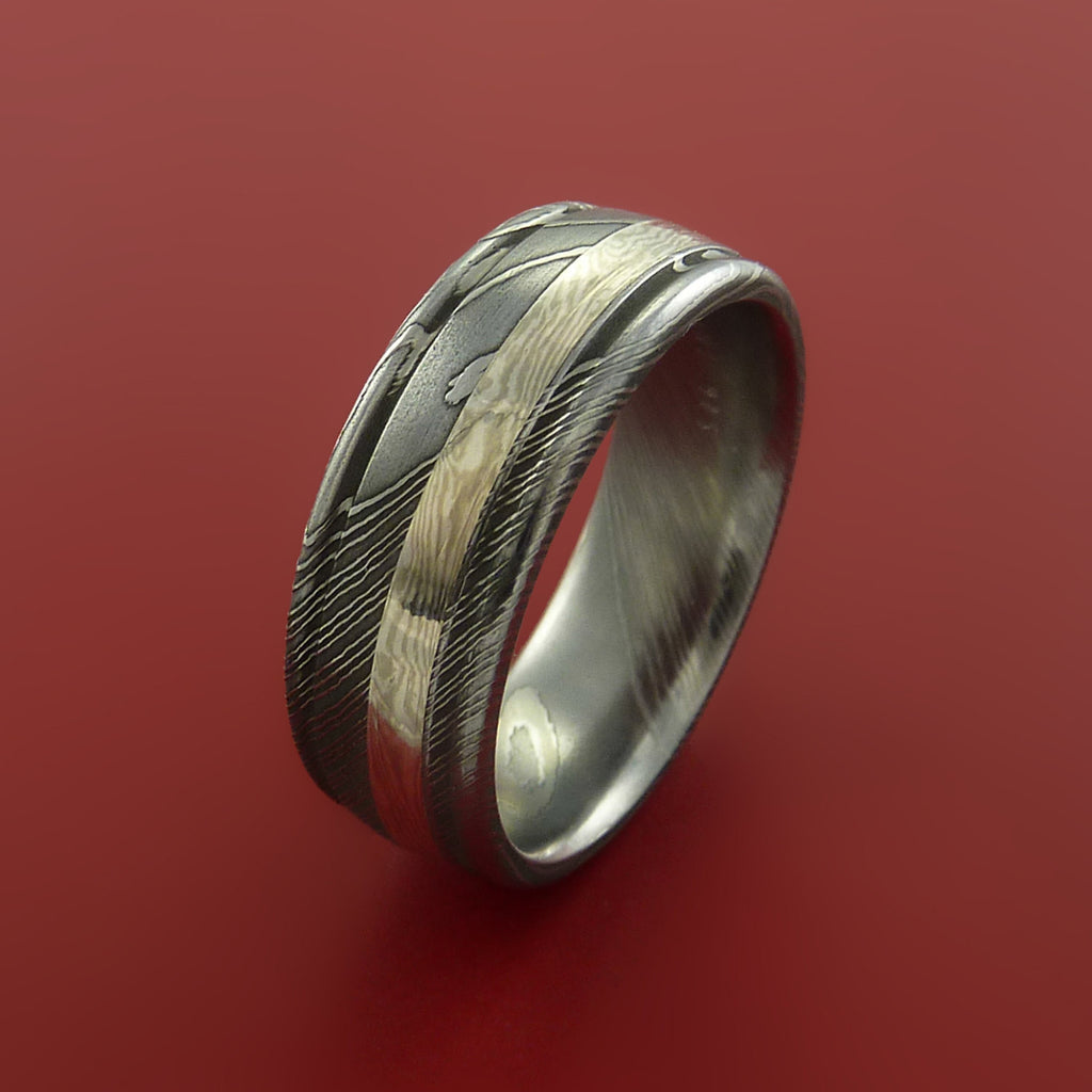 Damascus and 14k WHITE GOLD Mokume Gane Ring Custom Made - Stonebrook Jewelry  - 4