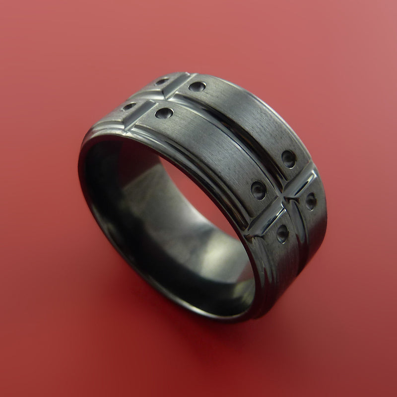Wide Black Zirconium Ring with Industrial Segmented Groove Inlay Custom Made Band
