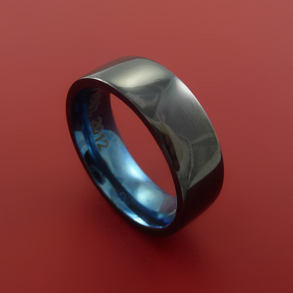 Black Zirconium Ring Traditional Style Band with Blue Anodized Interior Made to Any Sizing and Finish by Stonebrook Jewelry