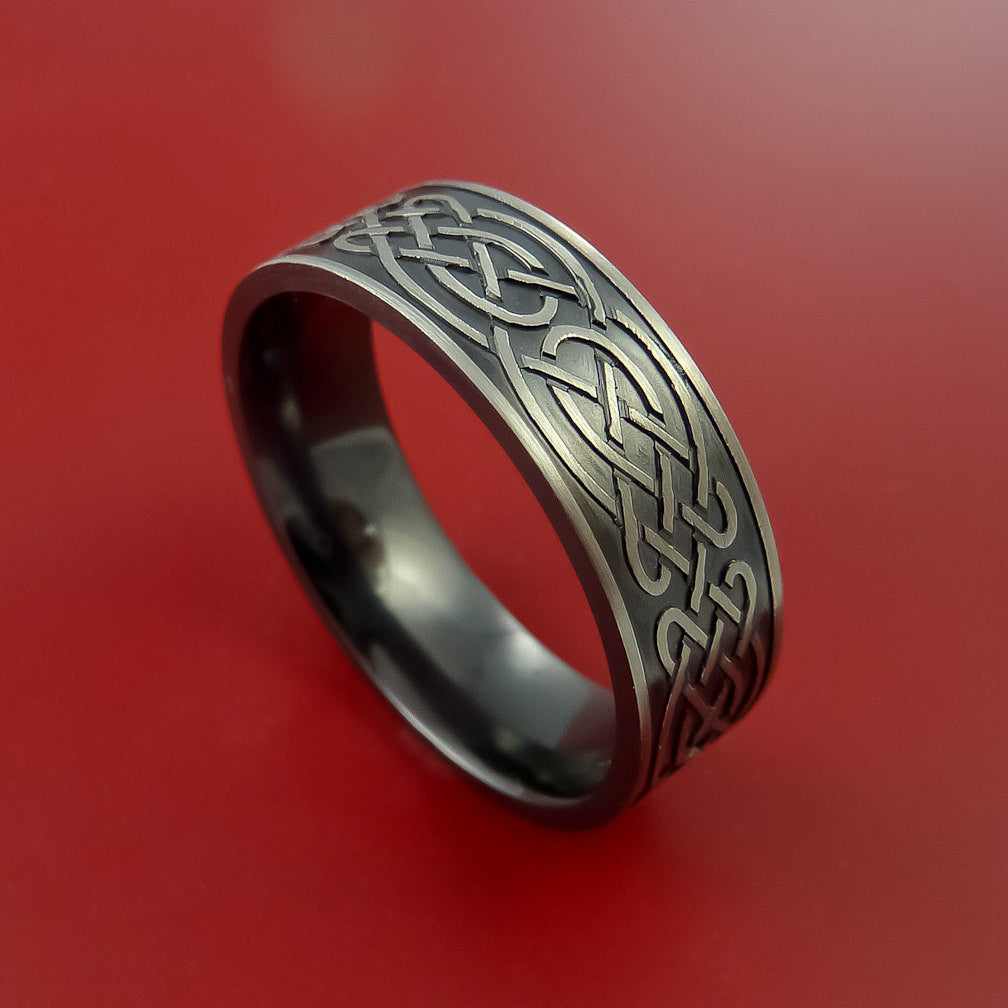 Black Zirconium Ring with Infinity Knot Milled Celtic Design Inlay Custom Made Band