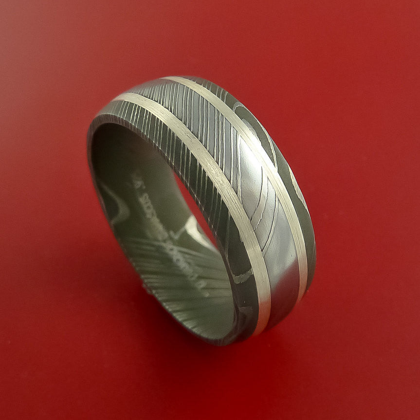 Damascus Steel Ring with Sterling Silver Custom Made Band by Stonebrook Jewelry