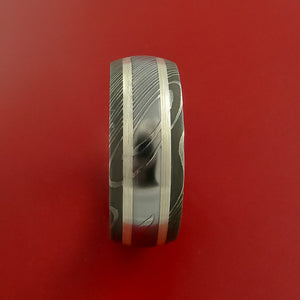 Damascus Steel Ring with Sterling Silver Inlay Custom Made Band