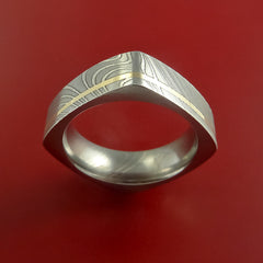 Damascus Steel Square Band Off Center 14K Yellow Gold Inlay Pattern Ring by Stonebrook Jewelry