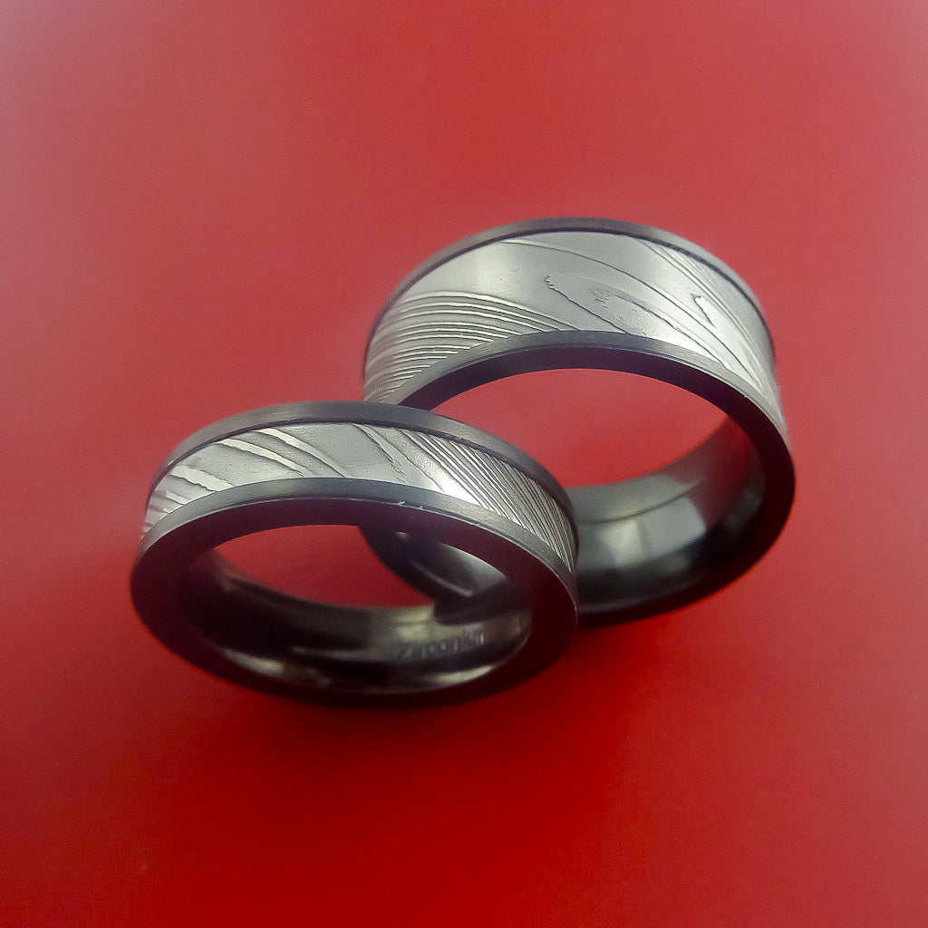 Matching Black Zirconium and Damascus Steel Bands Custom Made Rings to Any Sizing - Stonebrook Jewelry  - 2