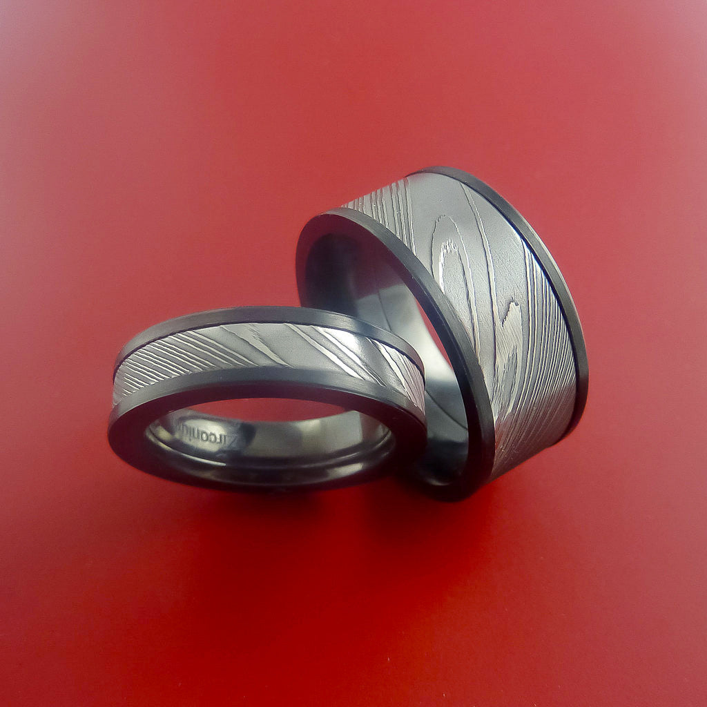 Matching Black Zirconium and Damascus Steel Bands Custom Made Rings to Any Sizing - Stonebrook Jewelry  - 4