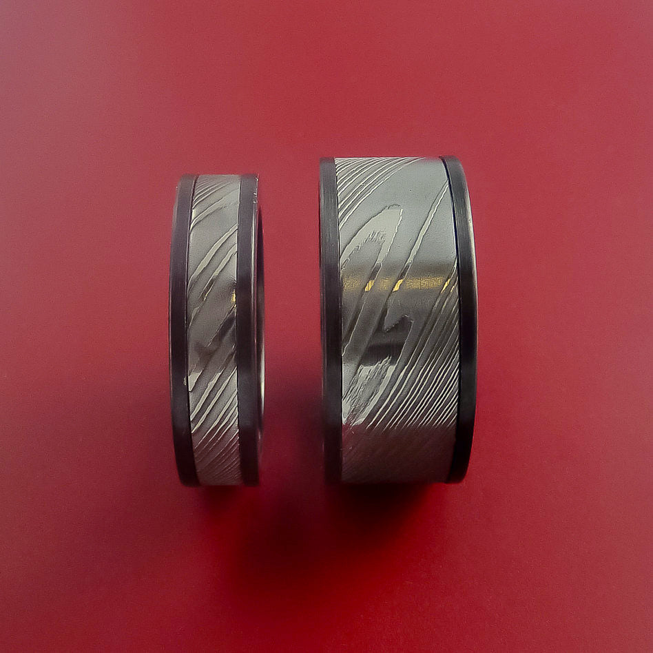 Matching Black Zirconium and Damascus Steel Bands Custom Made Rings to Any Sizing - Stonebrook Jewelry  - 3