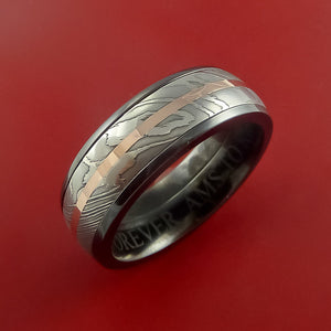 Black Zirconium Ring with Damascus Steel and 14k Rose Gold Inlays Custom Made Band