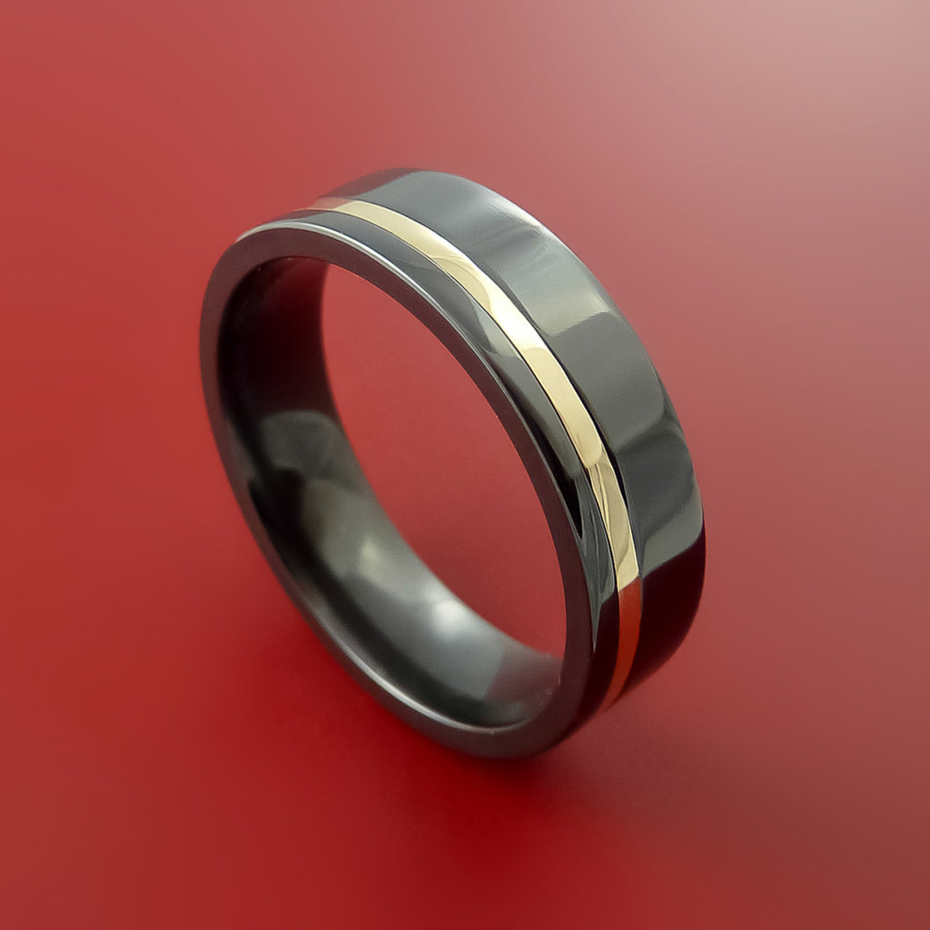 Black Zirconium and 14K Yellow Gold Ring Custom made Band Any Finish and Sizing from 3-22 by Stonebrook Jewelry