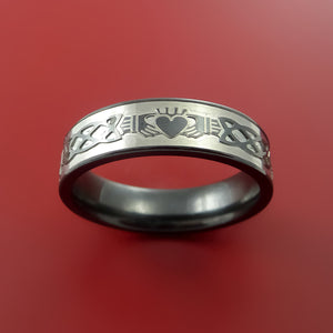 Black Zirconium Ring with Claddagh Milled Celtic Design Inlay Custom Made Band
