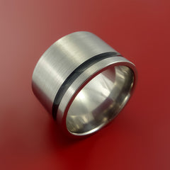 Titanium Wide Wedding Band Engagement Ring Made to Any Sizing and Finish 3-22 by Stonebrook Jewelry