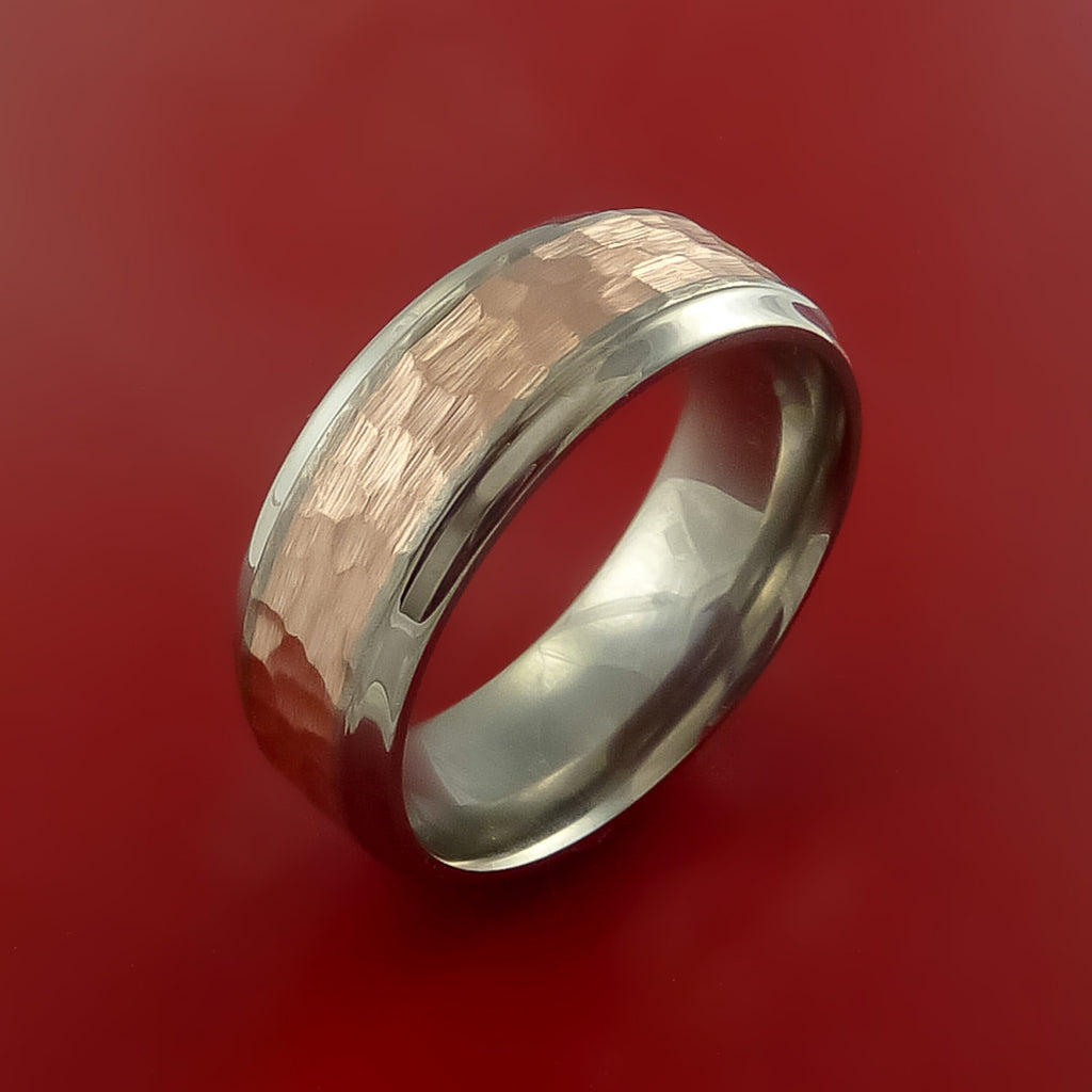 Titanium Ring Classic Hammer Style with 14k Rose Gold Inlay Wedding Band Any Size and Finish 3-22 - Stonebrook Jewelry  - 4