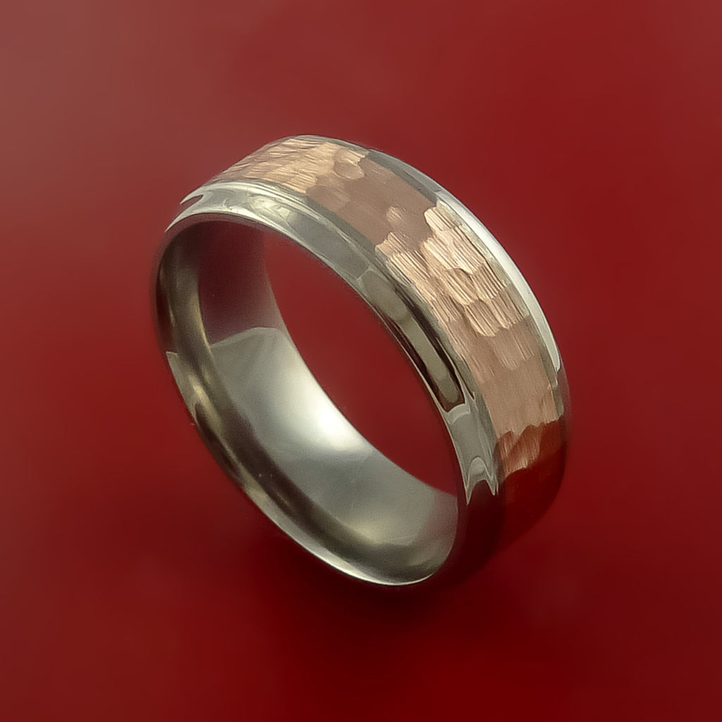 Titanium Ring Classic Hammer Style with 14k Rose Gold Inlay Wedding Band Any Size and Finish 3-22 by Stonebrook Jewelry