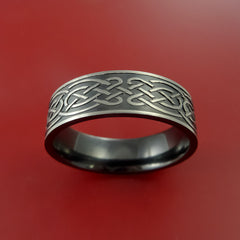 Black Zirconium Celtic Irish Knot Ring Carved Pattern Design Band Any Size Ring by Stonebrook Jewelry
