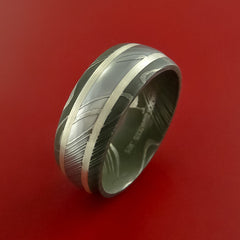 Damascus Steel Ring with Sterling Silver Custom Made Band - Stonebrook Jewelry  - 2