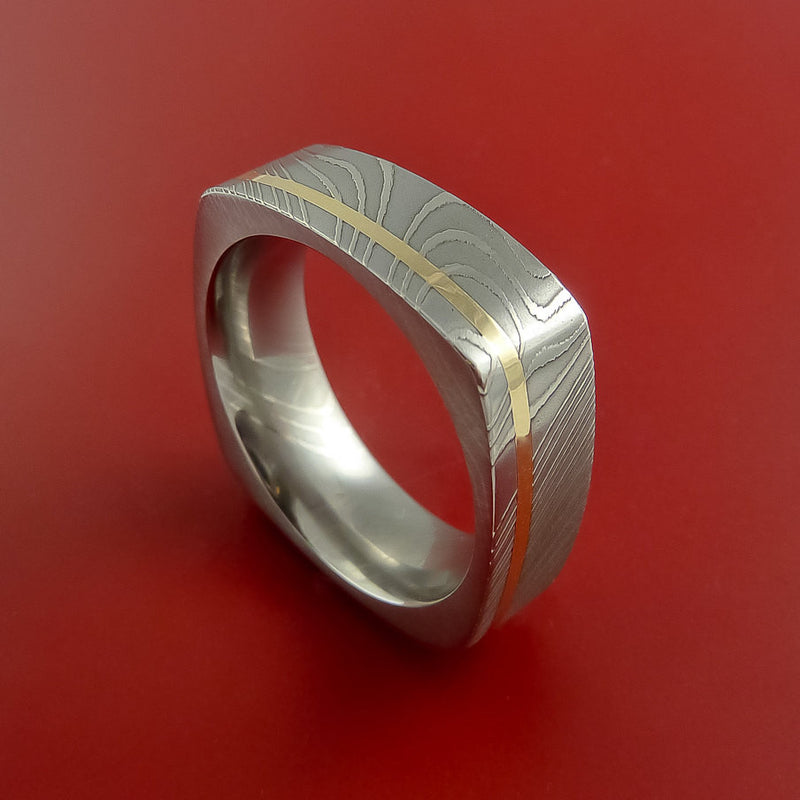 Damascus Steel Square Band Off Center 14K Yellow Gold Inlay Pattern Ring