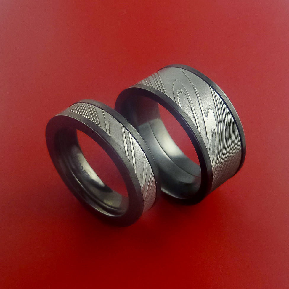Matching Black Zirconium and Damascus Steel Bands Custom Made Rings to Any Sizing by Stonebrook Jewelry