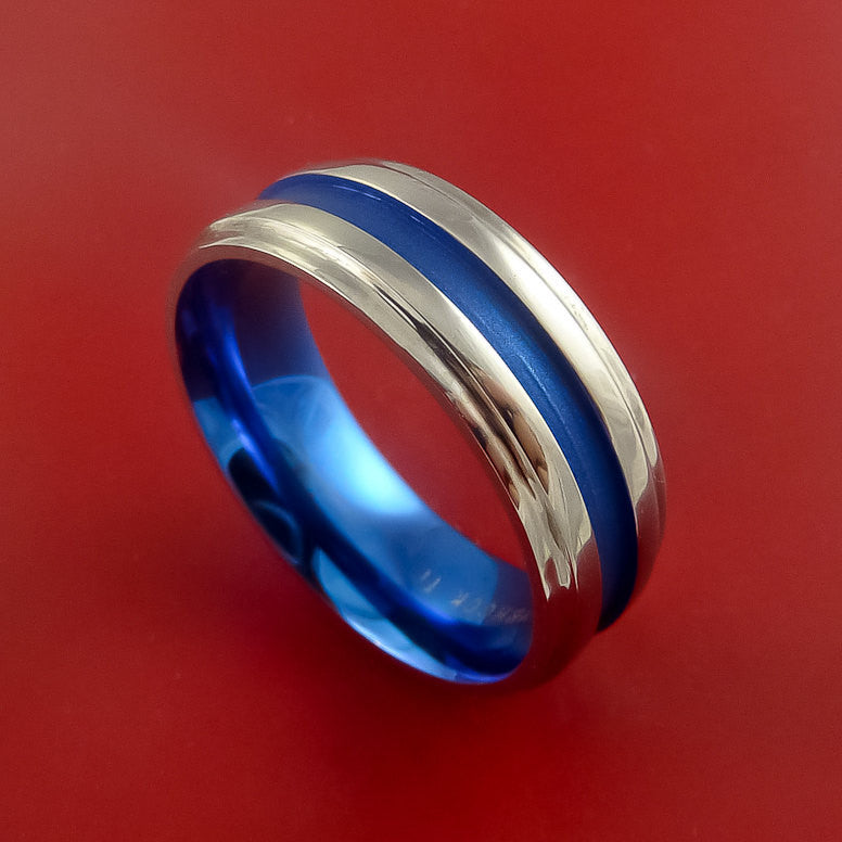 Titanium Band Custom Color Design Ring Any Size 3 to 22 Blue, Purple, Magenta, Bronze, Yellow, Turquoise - Stonebrook Jewelry  - 1