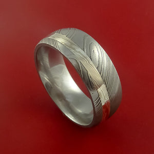 Damascus Steel with Palladium and Silver Mokume Gane Ring Custom Made