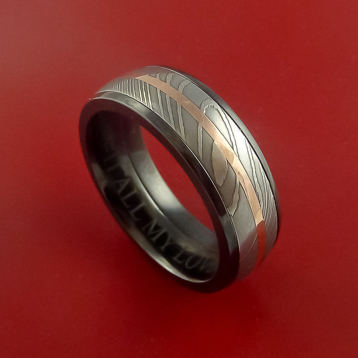 Black Zirconium and Damascus Steel Band 14K Rose Gold Center Custom Made Ring by Stonebrook Jewelry