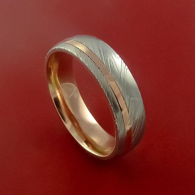 Damascus Steel Ring with 14k Rose Gold Inlay and Interior 14k Rose Gold Sleeve Custom Made Band