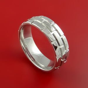 Cobalt Chrome Unique Brick Ring Bright Comfortable Ring Made to Any Sizing and Finish 3-22