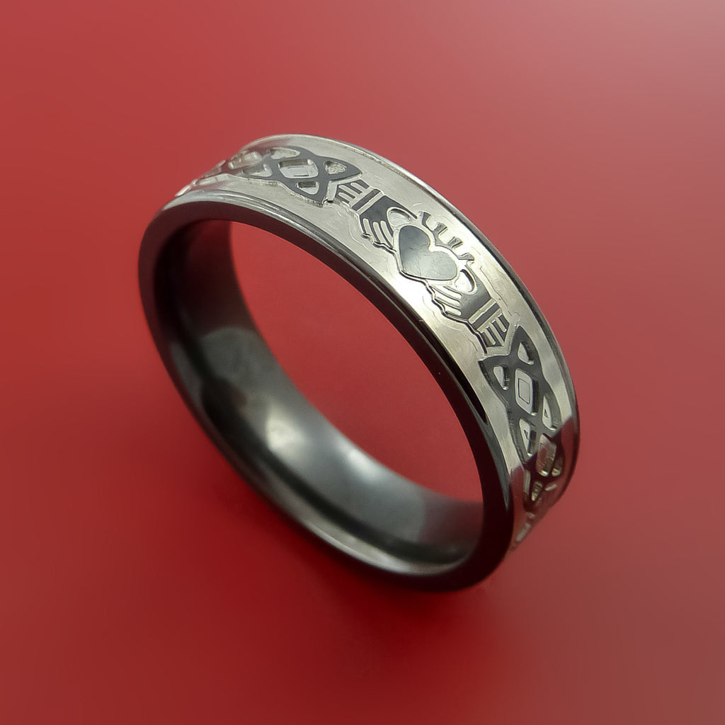 Black Zirconium Celtic Irish Claddagh Ring Hands Clasping Heart Band Carved Any Size Ring 4 to 20