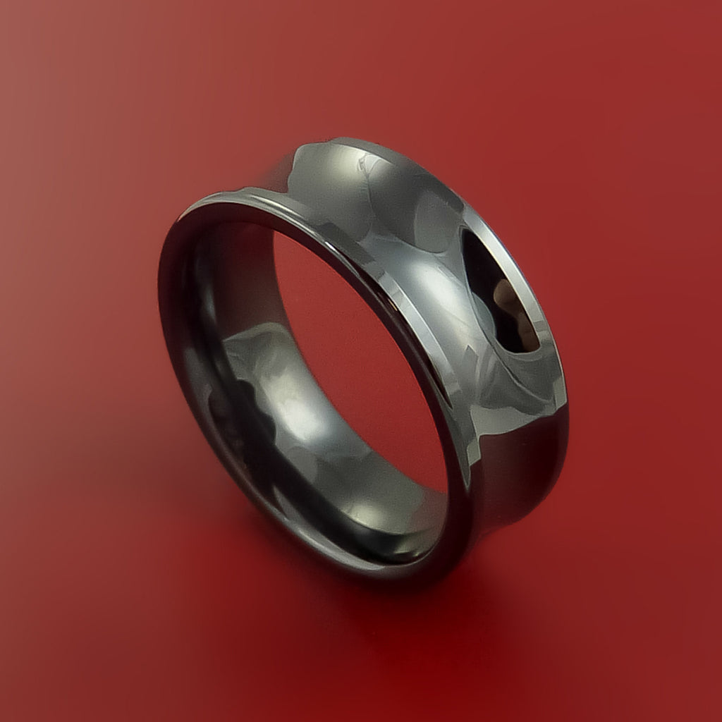 Black Zirconium Ring Traditional Style Band Made to Any Size by Stonebrook Jewelry