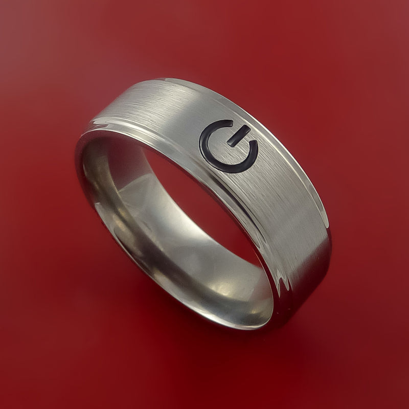 Titanium Ring with Power Symbol Laser-Etched Pattern and Cerakote Inlays Custom Made Band