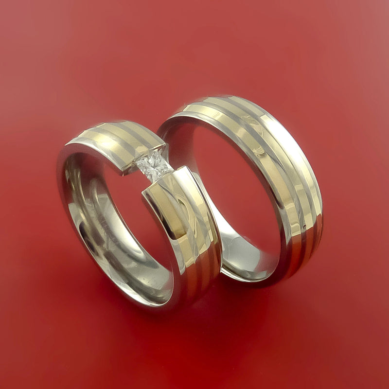 Yellow Gold Titanium and Tension Setting with Diamond His and Her Matching Rings Wedding Band Set Sizes 3-22