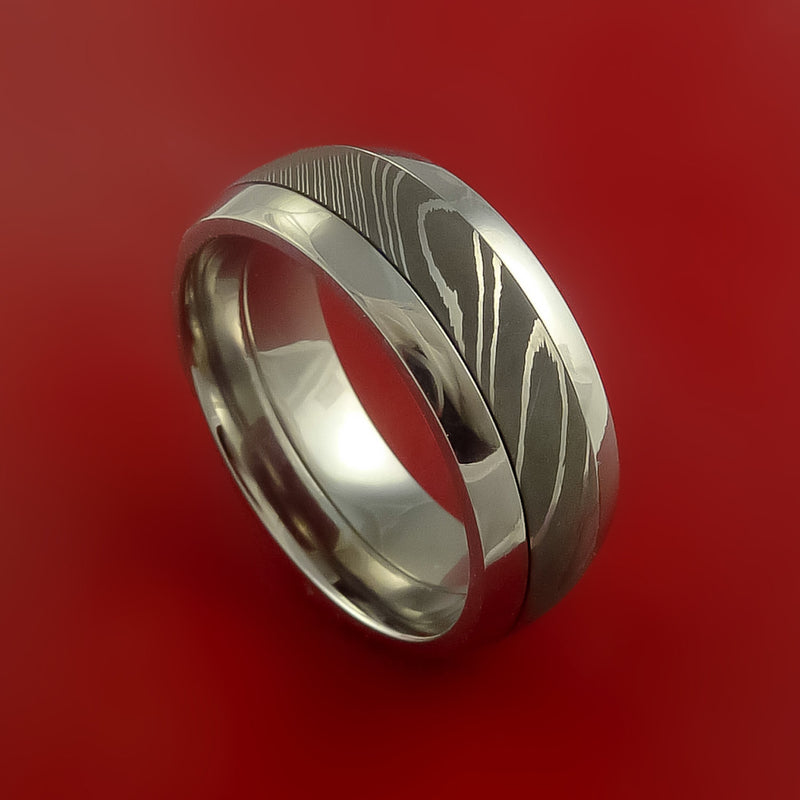 Surgical Stainless Steel Ring with Damascus Steel Inlay Custom Made Band